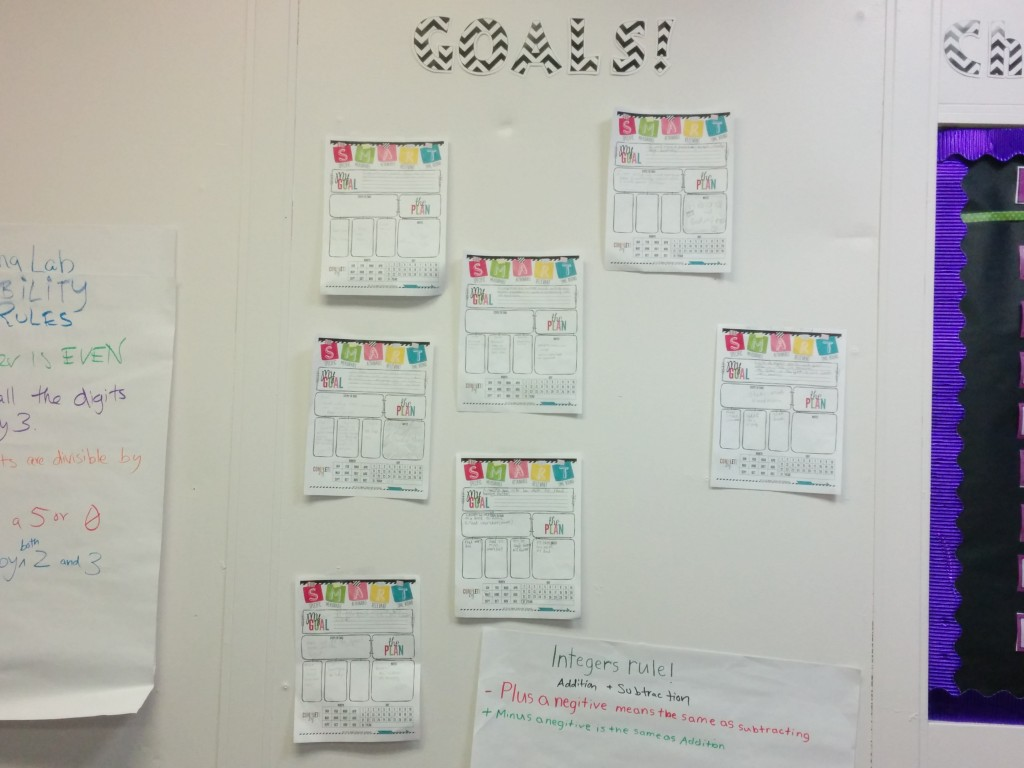 Our classroom goal setting wall